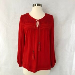 Solitaire Red Boho Embroidered Boho Blouse